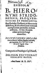 Epistolae ¬B. Hieronymi Stridonenesis, eloquentissimi et praestanissimi ecclesiae doctoris: in libros tres