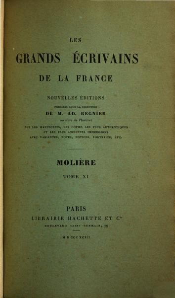 Download Oeuvres de Moli  re  Notice bibliographique additions et corrections  par A  Desfeuilles Book