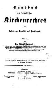 Handbuch der katholischen Kirchenrechtes mit besonderer Rücksicht auf Deutschland