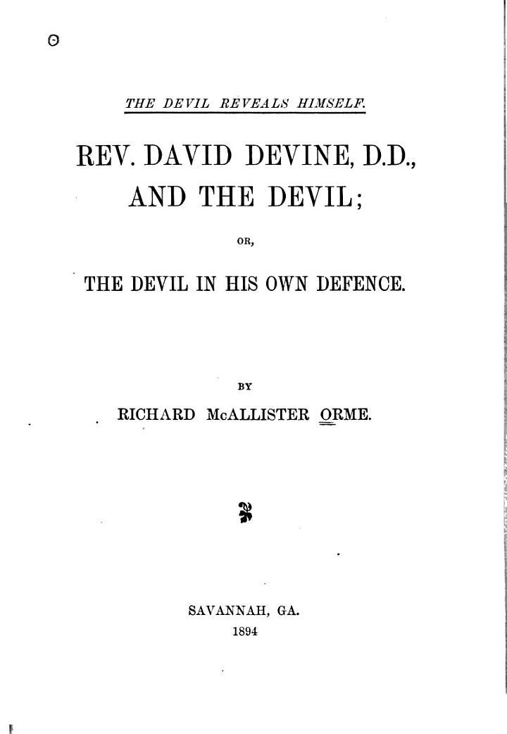 Devil Reveals Himself