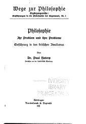 Philosophie, ihr Problem und ihre Probleme: einführung in den kritischen Idealismus