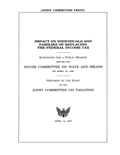 Impact on Individuals and Families of Replacing the Federal Income Tax: Committee Print, Committee on Ways and Means, U.S. House of Representatives