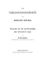 Zur verfassungsgeschichte der rœmischen republik: Programm für die rectoratsfeier der universitæt Basel