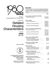 1980 Census of Housing: Characteristics of housing units. Detailed housing characteristics. Utah, Volume 1