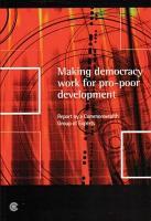 Making Democracy Work for Pro poor Development PDF