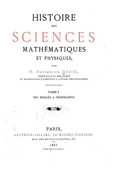 Download De thal  s    Diophante  1883 Book