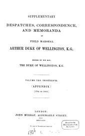 Supplementary Despatches, Correspondence, and Memoranda: Volume 13