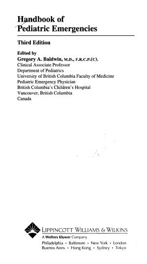 Handbook of Pediatric Emergencies PDF