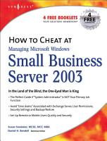 How to Cheat at Managing Windows Small Business Server 2003 PDF