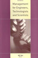 Management for Engineers  Technologists and Scientists PDF