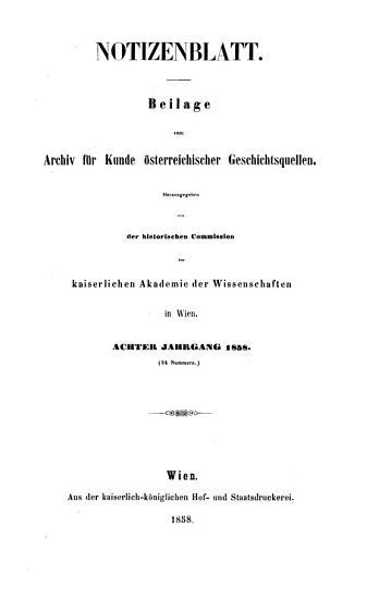 Archiv f  r   sterreichische Geschichte  Notizenblatt PDF