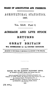 Agricultural Statistics, England and Wales: Volumes 42-43