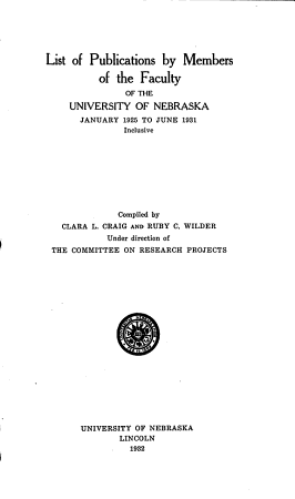 List of Publications by Members of the Faculty of the Universiy of Nebraska PDF