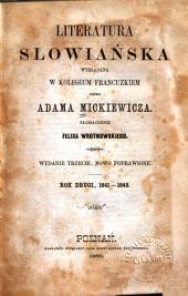Literatura słowiańska: Rok drugi, 1841-1842