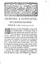 Mémoire `a consulter, et consultation