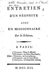 Entretien d'un néophyte avec un missionnaire sur le schisme
