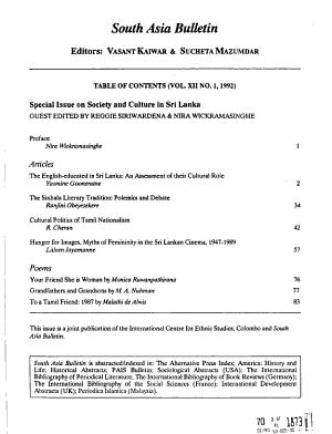 South Asia Bulletin PDF