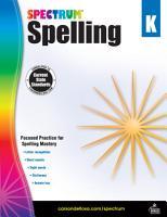 Spectrum Spelling  Grade K PDF