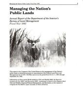 Managing the nation's public lands: a program report prepared pursuant to requirements of the Federal Land Policy and Management Act of 1976