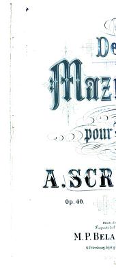 Deux mazurkas pour piano, op. 40