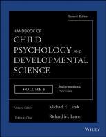 Handbook of Child Psychology and Developmental Science  Socioemotional Processes PDF