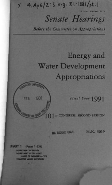 Energy and Water Development Appropriations for Fiscal Year 1991