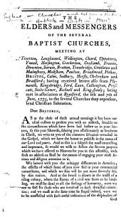 Begin. The Elders and Messengers of the several Baptist Churches, meeting at Tiverton [and elsewhere] ... being met in association at Bradford, the 6th and 7th of June 1775, to the several Churches they represent send Christian salutation, etc. [The circular letter of the Western Association. By James Newton.]