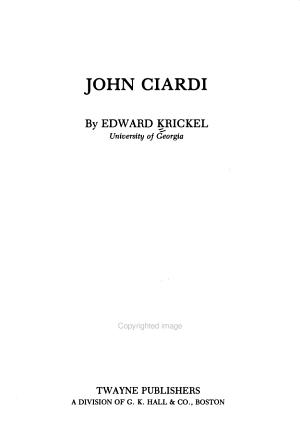 John Ciardi PDF