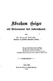 Abraham Geiger als Reformator des Judenthums