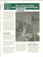 Safety  the Key to the Civilian Radioactive Waste Management Program PDF