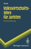 Volkswirtschaftslehre f  r Juristen PDF