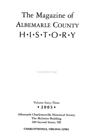 The Magazine of Albemarle County History