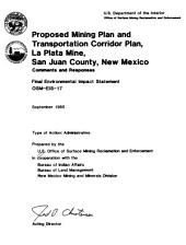 Proposed mining plan and transportation corridor plan, La Plata mine, San Juan County, New Mexico: final environmental impact statement, OSM-EIS-17, Volume 1