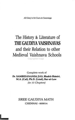 The History   Literature of the Gaudiya Vaishnavas and Their Relation to Other Medieval Vaishnava Schools PDF