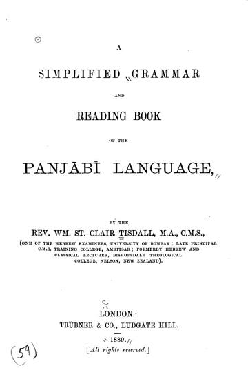 A Simplified Grammar and Reading Book of the Panj  b   Language PDF