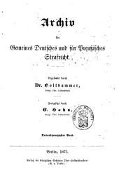 Archiv für preußisches Strafrecht: Band 23