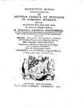 Dissertatio medica inauguralis, de arteriæ fabrica et efficacia in corpore hvmano: Quam ... ex auctoritate ... Joannis Ortwini Westenbergii ... pro gradu doctoratus ...