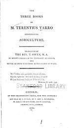 The Three Books of M. Terentius Varro Concerning Agriculture