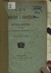Ley de inmigración y colonización de la República Argentina, sancionada por el Congreso Nacional de 1876