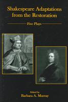 Shakespeare Adaptations from the Restoration PDF