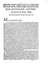 Dix-huitiéme lettre au reverend P. Annat, iesuite. Sur la copie imprimée à Cologne le 24. Mars 1657