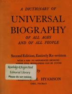 A Dictionary of Universal Biography of All Ages of All Peoples