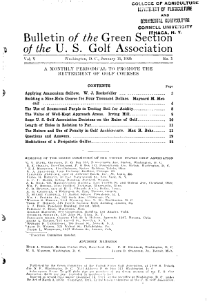 The Bulletin of the United States Golf Association, Green Section