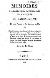 Mémoires historiques, littéraires et critiques de Bachaumont, depuis 1762 jusques 1788: Volume2