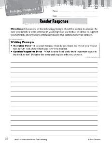Tuck Everlasting Reader Response Writing Prompts Book