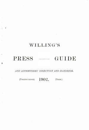 Willing s Press Guide and Advertisers  Directory and Handbook PDF