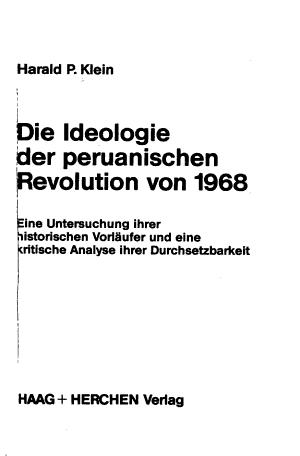 Die Ideologie Der Peruanischen Revolution Von 1968