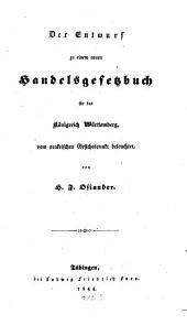 Der Entwurf zu einem neuen Handelsgesetzbuch für das Königreich Württemberg