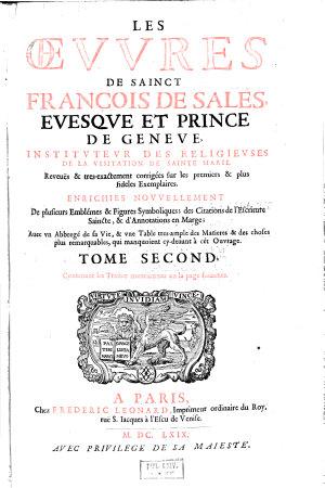 Les Oeuvres de Sainct Fran  ois de Sales  evesque et prince de Geneve      PDF