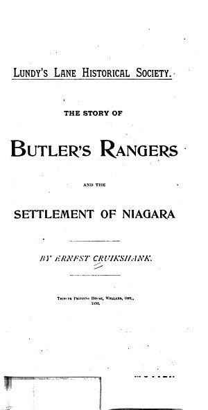 The Story of Butler s Rangers and the Settlement of Niagara